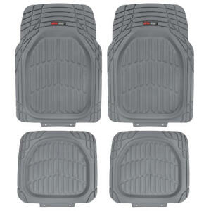 Heavy Duty Deep Dish Dirt Trapping All Season Car Rubber Floor Mats Gray