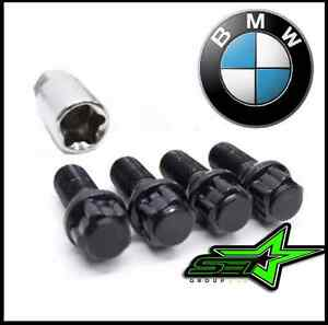 Black Bmw Steel Wheel Bolt Lock Set 12x1 5 Key Stock Aftermarket Oem Wheels