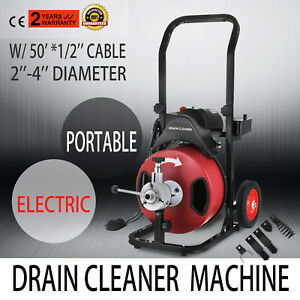 Electric 50ft 1 2 Drain Auger Pipe Cleaner Machine Set Snake Sewer Clog Tool