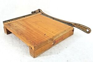 Vintage Ingento No 3 Paper Cutter Guillotine Working Condition Wood