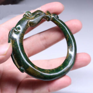 Collection Chinese Antique Bangle Hand Carved Old Jade Dragon Bracelet 68mm