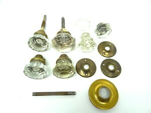 Antique Old Glass Mixed Lot Hardware Doorknobs Door Knobs Handles Parts