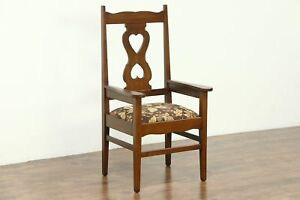Oak Antique 1900 Craftsman Library Or Office Chair New Upholstery 28682