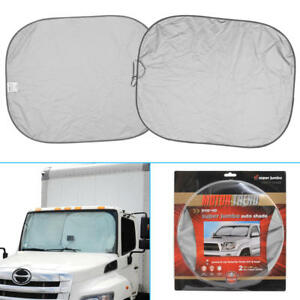 Extra Large Car Auto Sun Shade Fits Large Windshields For Trucks Semi Rvs 2 Pc