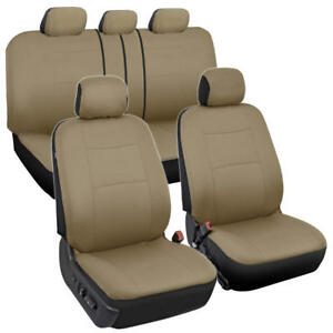 Comfortable Fabric Car Seat Covers W Universal Split Bench Zippers 9pc Beige