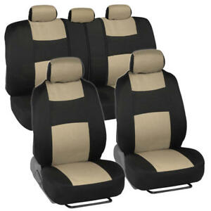 Universal Split Bench Car Seat Covers For Front Rear Two Tone Black Beige