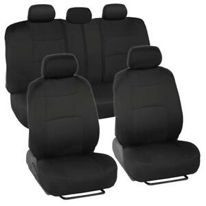 Universal Split Bench Car Seat Covers For Front Rear Comfy Black Fabric