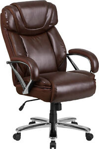 Brown Leather 500lb Capacity Big Mans Tall Double Padded Home Office Desk Chairs