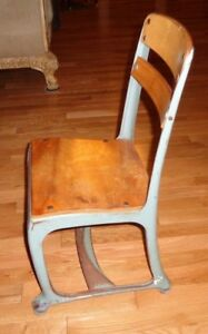 Vtg Child S School Small Chair Wood And Metal Gray Blueish Enamel Vintage