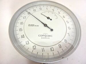Nice Large 3 1 4 Dia Swiss Compac Dial Indicator 0 001 Mm Rev Counter In Box