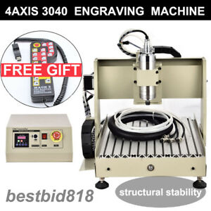 Engraver 4 Axis Cnc Router Engraving 3040 Drilling Milling Machine 800w Vfd rc