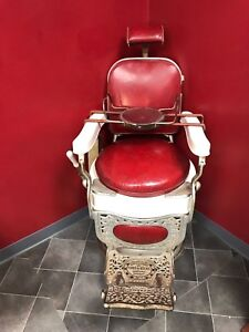Original Unrestored 1910 Theo A Kochs Company Chicago Barber Chair