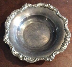 Vintage Poole Old English Silverplate Bowl Dish Ornate Rim 5004 Antique