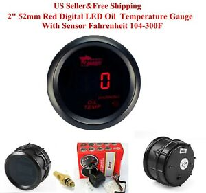 2 52mm Red Digital Led Oil Temperature Gauge With Sensor Fahrenheit 104 302f