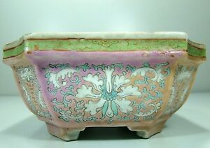 Antique Chinese Famille Rose Porcelain Narcissus Planter With Mark