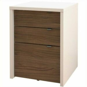Atlin Designs 3 Drawer Filing Cabinet In White And Walnut