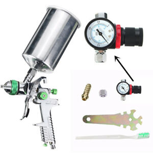 Hvlp Air Gravity Feed Spray Paint Gun Airbrush Cup Pot 1 4mm 600ml Capacity Us