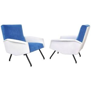 Pair Of Italian Blue And White Velvet Lounge Chairs Mid Century Modern Armchairs