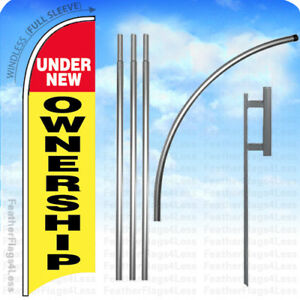 Under New Ownership Windless Swooper Flag Kit Feather Banner Sign 15 Set Yb