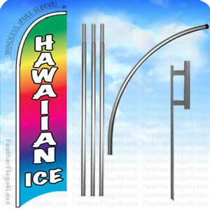 Hawaiian Ice Windless Swooper Flag Kit Feather Banner Sign 15 Set B