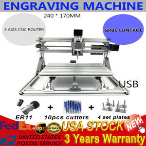 Mini Diy Cnc Router Kit Usb Desktop Metal Engraver Pcb Milling Machine 24x17cm