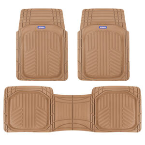 Acdelco All Weather Car Floor Mats Deep Dish Heavy Duty Beige Rubber Liners