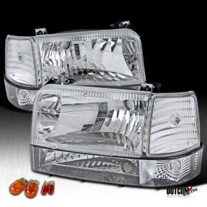 For 1992 1996 Ford F150 250 350 Bronco Clear Headlights Bumper Corner Lamps