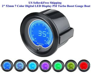 2 52mm 7 Color Digital Led Display Psi Turbo Boost Gauge Boat Car Auto Us