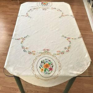 Linen Crewel Embroidered Tablecloth Vintage Hand Embroidered Beige Tablelcoth