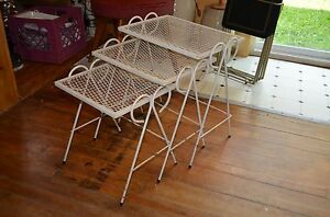 Metal Mesh Mid Century Stacking Tables White Vintage
