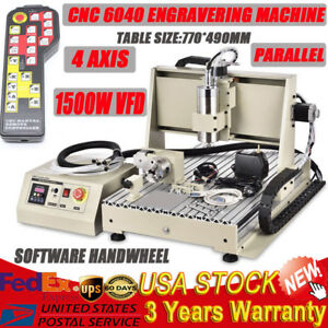 4 axis Cnc Router 6040 1 5kw Spindle Vfd Engraving Milling Carving Machine Rc