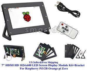Us 7 Hdmi Hd 1024x600 Led Screen Display Module Kit case For Raspberry Pi3 2b