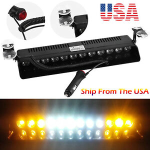 Emergency Led Strobe Light Bar Car Truck Windshield Visor Beacon Warning Lamp