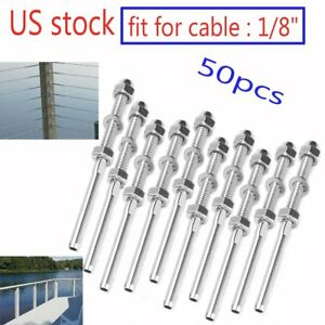 50pc Swage Threaded Tensioner For 1 8 Cable Railing System T316 Stainless Steel