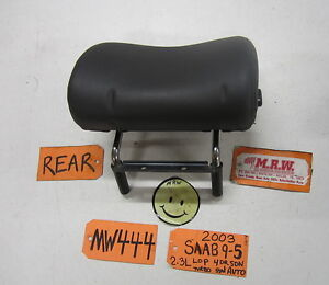 03 Saab 9 5 Right Left Rear Seat Headrest Head Rest Graphite Leather 02 04 05 06