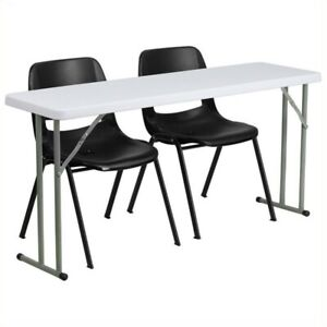 Bowery Hill Folding Table And 2 Stacking Chairs In Black And White