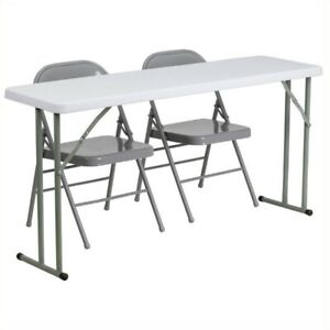 Bowery Hill Folding Table And 2 Folding Chairs In Gray And White