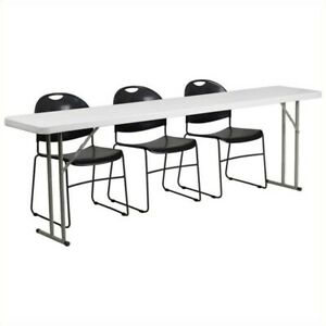 Bowery Hill Folding Table And 3 Stacking Chairs In Black And White