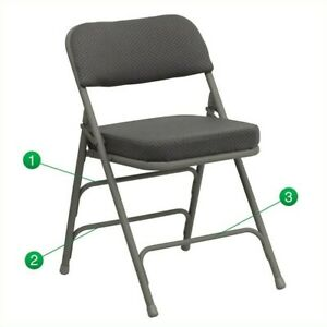 Bowery Hill Upholstered Metal Folding Chair In Gray