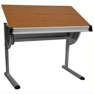 Bowery Hill Adjustable Drawing And Drafting Table In Pewter