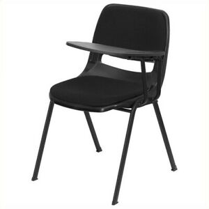 Bowery Hill Padded Ergonomic Shell Stacking Folding Chair In Black