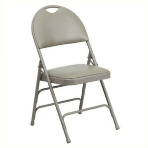 Bowery Hill Metal Folding Chair In Gray