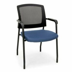 Bowery Hill Mesh Back Fabric Guest Chair In Navy