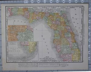 1906 Map United States Florida Counties Cities Jacksonville Key West Pensacola