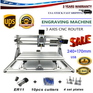 3aixs 2417 Cnc Router Kit Desktop Metal Mill Engraver Pcb Milling Machine Usb