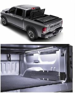 Truxedo Deuce Fold Black Vinyl Tonneau Cover Access 24 Led Light For Ram 1500