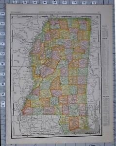 1906 Map United States Mississippi Counties Cities Vicksburg Newton Panola