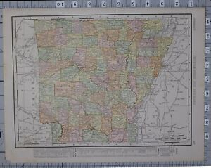 1906 Map United States Arkansas Counties Cities Hot Springs Eureka Little Rock