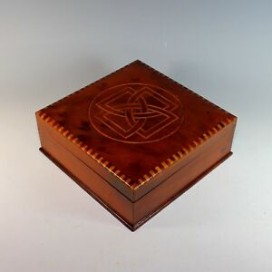 Inlaid Antique Wood Box With Celtic Knot