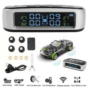 Universal Solar Car Auto Tpms Tire Pressure Monitor System With 4external Sensor